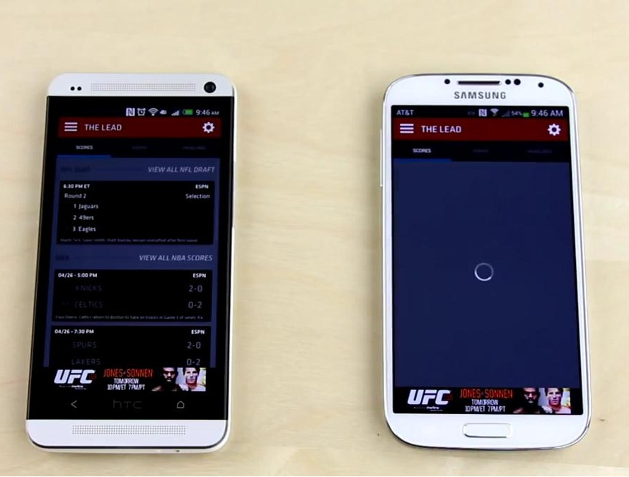 app speed test - htc one better than s4
